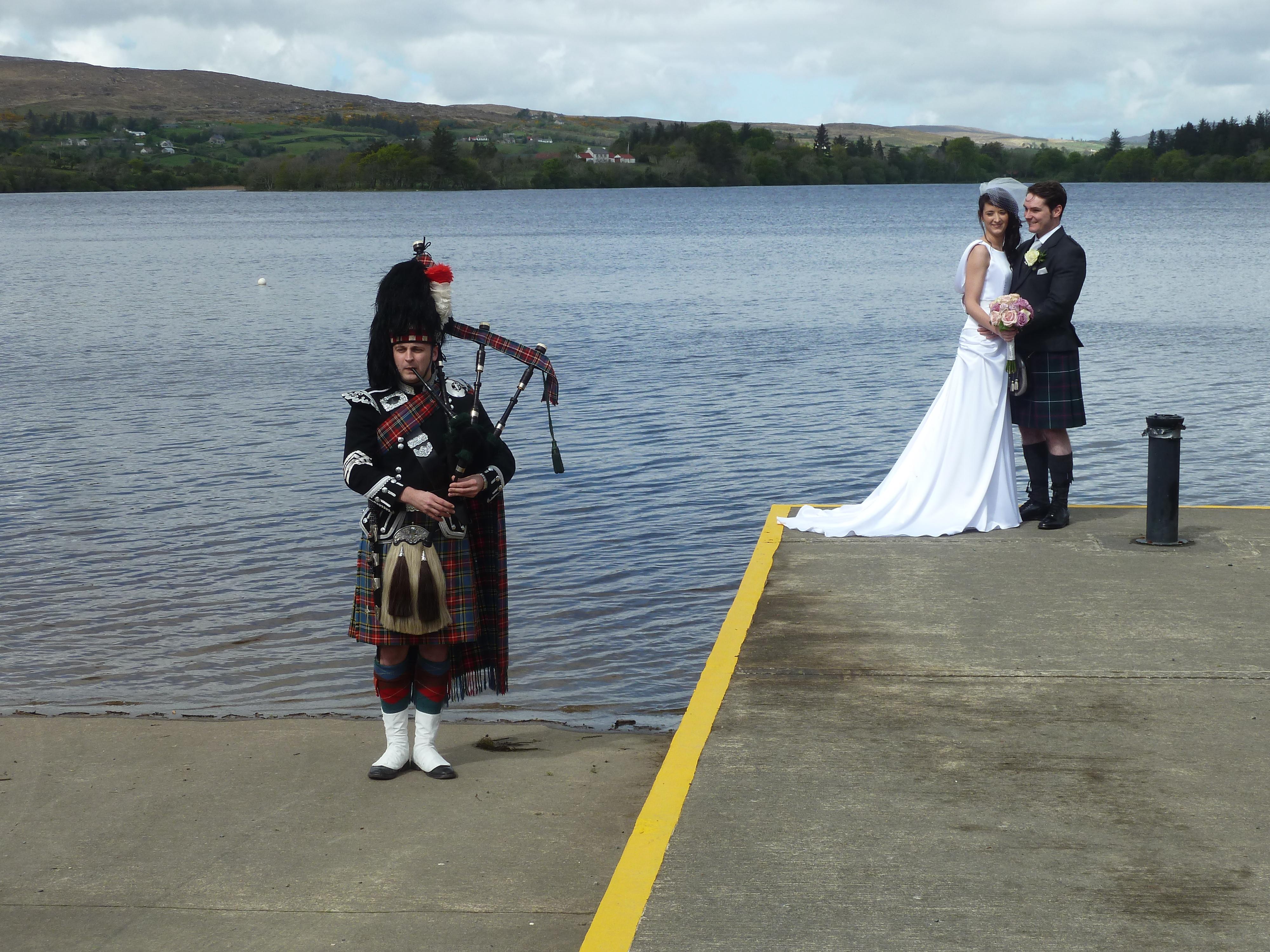 Bagpipe music at wedding